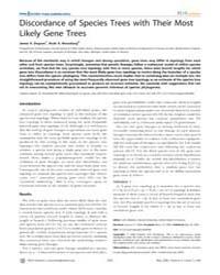 Plos Genetics : Discordance of Species T... by Wakeley, John