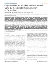 Plos Genetics : Origination of an X-link... by Hawley, R. Scott