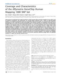 Plos Genetics : Coverage and Characteris... by Abecasis, Goncalo