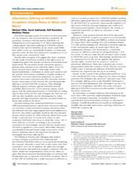 Plos Genetics : Alternative Splicing at ... by Hiller, Michael