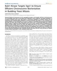 Plos Genetics : Bub1 Kinase Targets Sgo1... by Cohen-fix, Orna