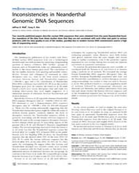 Plos Genetics : Inconsistencies in Neand... by McVean, Gil
