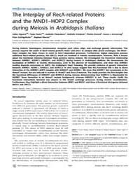Plos Genetics : the Interplay of Reca-re... by Hawley, R. Scott