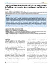 Plos Genetics : Proofreading Activity of... by Haber, James E.
