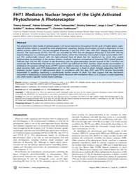 Plos Genetics : Fhy1 Mediates Nuclear Im... by Copenhaver, Gregory P.