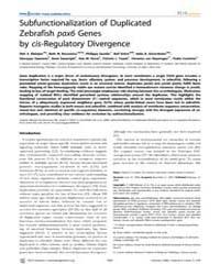 Plos Genetics : Subfunctionalization of ... by Frankel, Wayne N.