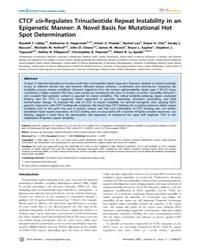 Plos Genetics : Ctcf Cis-regulates Trinu... by Heyningen, Veronica Van