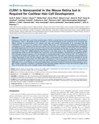 Plos Genetics : Clrn1 is Nonessential in... by Friedman, Thomas B.