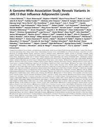 Plos Genetics : a Genome-wide Associatio... by Abecasis, Goncalo R.