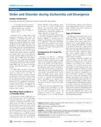 Plos Genetics : Order and Disorder Durin... by Casadesus, Josep