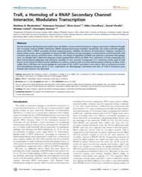 Plos Genetics : Trar, a Homolog of a Rna... by Burkholder, William F.