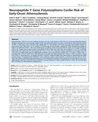 Plos Genetics : Neuropeptide Y Gene Poly... by Cox, Gregory A.