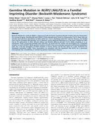 Plos Genetics : Germline Mutation in Nlr... by Barsh, Gregory S.