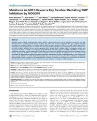 Plos Genetics : Mutations in Gdf5 Reveal... by Barsh, Gregory S.