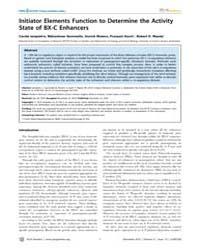 Plos Genetics : Initiator Elements Funct... by Perrimon, Norbert