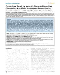 Plos Genetics : Competitive Repair by Na... by Copenhaver, Gregory P.