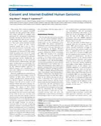 Plos Genetics : Consent and Internet-ena... by Gibson, Greg