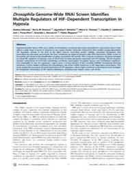 Plos Genetics : Drosophila Genome-wide R... by Rulifson, Eric