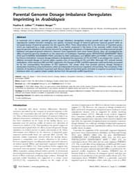Plos Genetics : Parental Genome Dosage I... by Ecker, Joseph R.