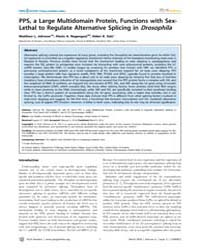 Plos Genetics : Pps, a Large Multidomain... by Stubbs, Lisa