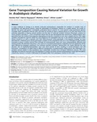 Plos Genetics : Gene Transposition Causi... by Mauricio, Rodney