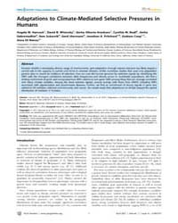 Plos Genetics : Adaptations to Climate-m... by Nachman, Michael W.