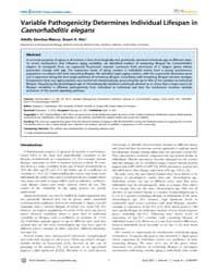 Plos Genetics : Variable Pathogenicity D... by Copenhaver, Gregory P.