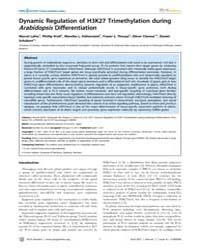 Plos Genetics : Dynamic Regulation of H3... by Kakutani, Tetsuji