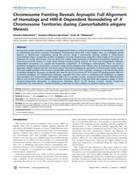 Plos Genetics : Chromosome Painting Reve... by Hawley, R. Scott