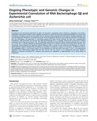 Plos Genetics : Ongoing Phenotypic and G... by Casadesús, Josep