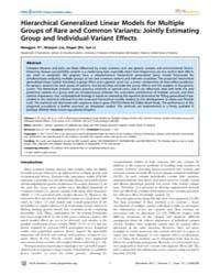 Plos Genetics : Hierarchical Generalized... by Schork, Nicholas J.