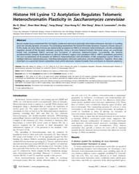 Plos Genetics : Histone H4 Lysine 12 Ace... by Madhani, Hiten D.
