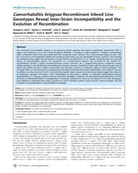 Plos Genetics : Caenorhabditis Briggsae ... by Kruglyak, Leonid