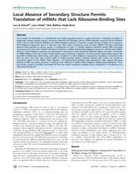 Plos Genetics : Local Absence of Seconda... by Casadesus, Josep