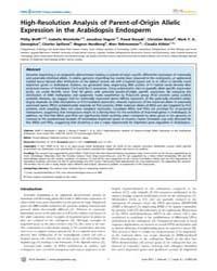 Plos Genetics : High-resolution Analysis... by Kakutani, Tetsuji