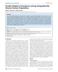 Plos Genetics : Parallel Adaptive Diverg... by Gibson, Greg