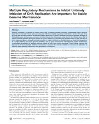 Plos Genetics : Multiple Regulatory Mech... by Lichten, Michael