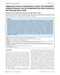 Plos Genetics : Epigenetic Patterns Main... by Lee, Jeannie T.