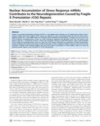 Plos Genetics : Nuclear Accumulation of ... by Orr, Harry T.