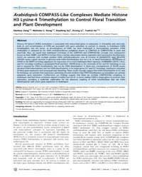Plos Genetics : Arabidopsis Compass-like... by Copenhaver, Gregory, P.