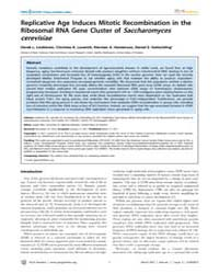 Plos Genetics : Replicative Age Induces ... by Rine, Jasper
