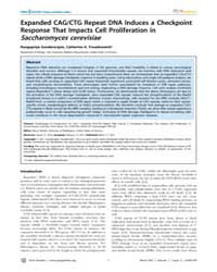 Plos Genetics : Expanded Cag, Volume 7 by Maizels, Nancy