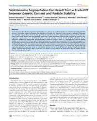 Plos Genetics : Viral Genome Segmentatio... by Malik, Harmit S.
