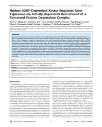 Plos Genetics : Nuclear Cgmp-dependent K... by Chisholm, Andrew D.