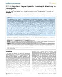 Plos Genetics : Foxo Regulates Organ-spe... by Hafen, Ernst