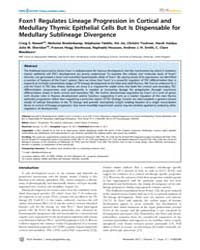 Plos Genetics : Foxn1 Regulates Lineage ... by Roopenian, Derry C.