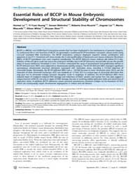 Plos Genetics : Essential Roles of Bccip... by Pearson, Christopher E.