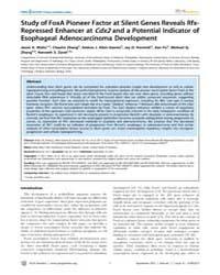 Plos Genetics : Study of Foxa Pioneer Fa... by Reid, Brian