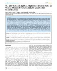 Plos Genetics : the Dsif Subunits Spt4 a... by Ramsden, Dale A.