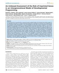 Plos Genetics : an Unbiased Assessment o... by Bartolomei, Marisa